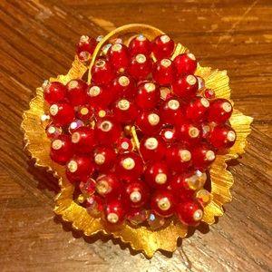 Vintage BSK pomegranate look glass beaded brooch